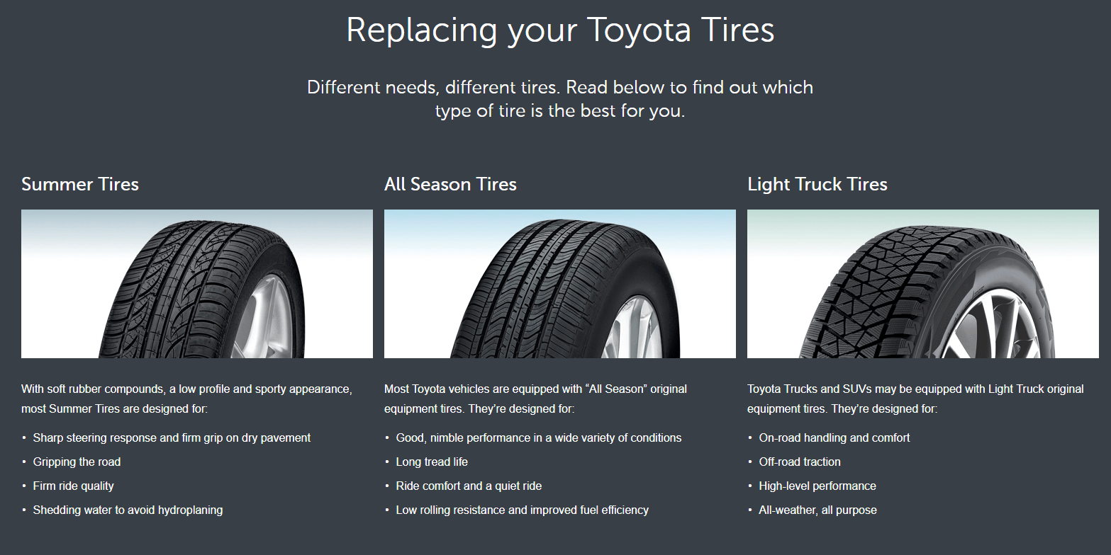 Replacing your Toyota Tires. What is the difference between Summer Tires, All-Season, Winter Tires and Light Truck Tires.