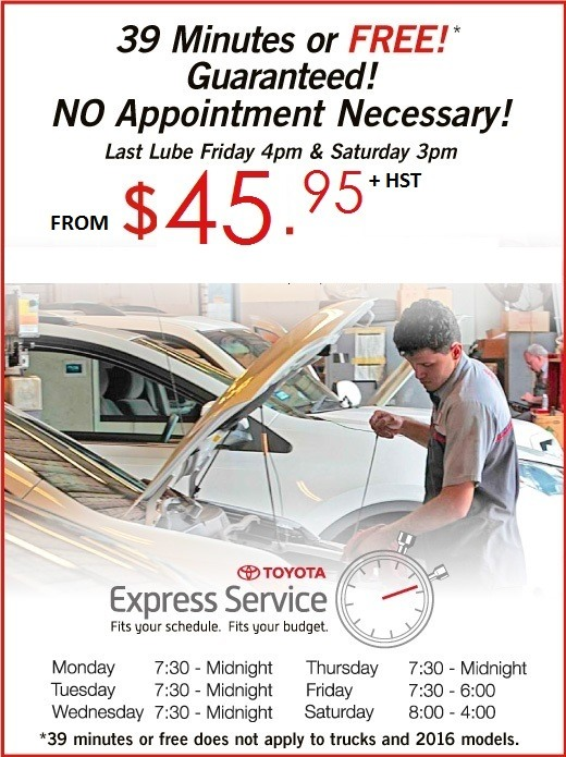 Toyota Express Lube Service - 2019