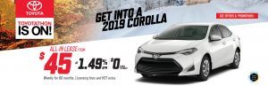 2019 toyota corolla on sale at Ken Shaw Toyota in Toronto for $45 weekly