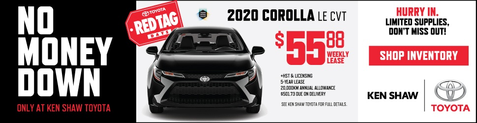 2020 TOYOTA COROLLA LE CVT AUTOMATIC TRANSMISSION ON SALE AT KEN SHAW TOYOTA IN TORONTO, ONTARIO