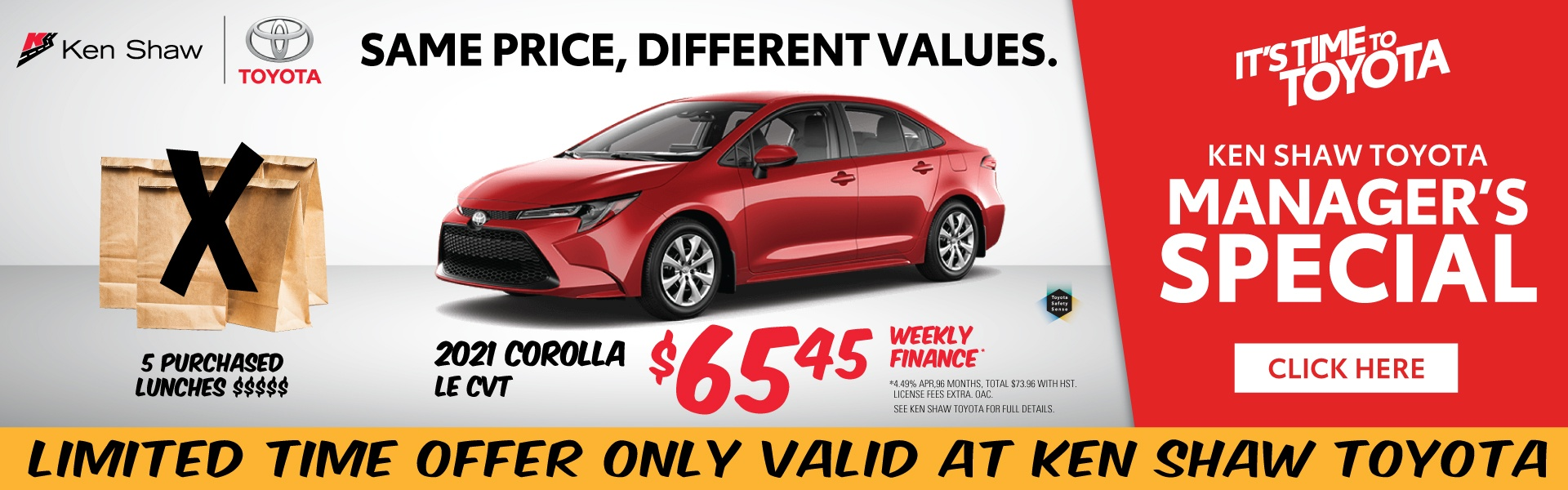 Ken Shaw Toyota Toronto Ontario 2021 Corolla LE CVT Sale best affordable sedan