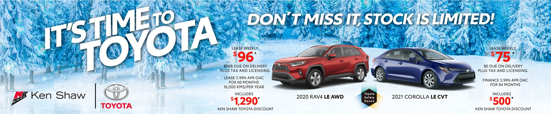 2020 2021 Toyota RAV4 and Corolla vehicles on sale in Toronto, Ontario Ken Shaw Toyota