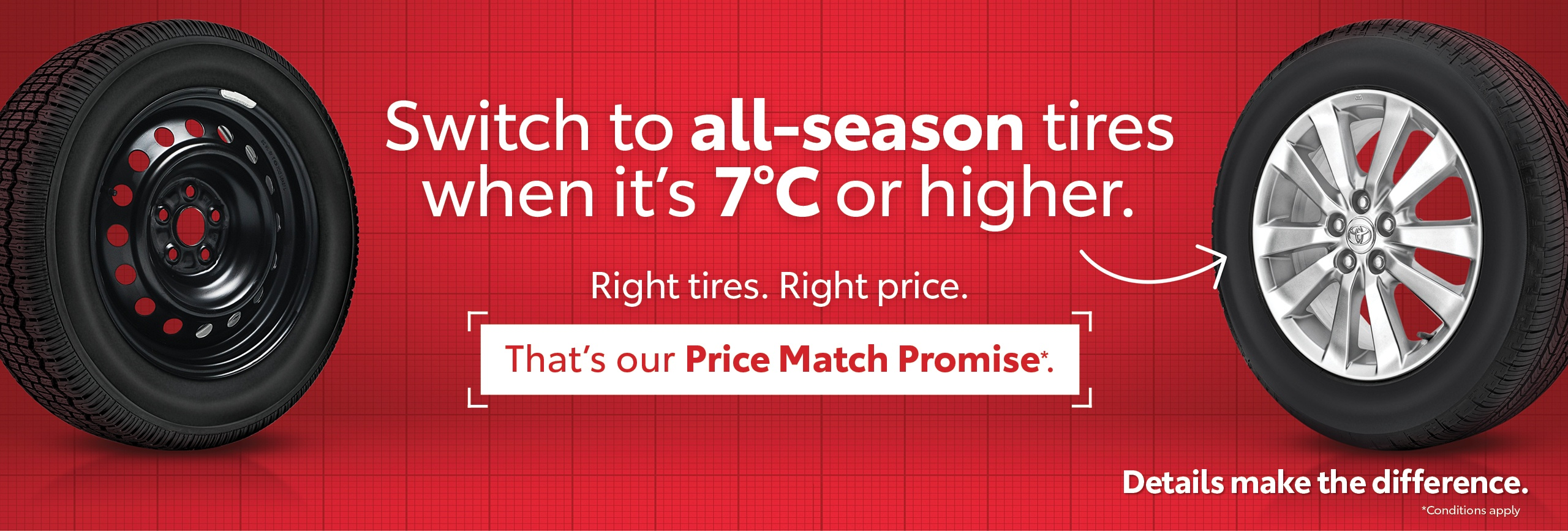 Toyota Tire Price Match Promise Promotion sale in Toronto at Ken Shaw Toyota