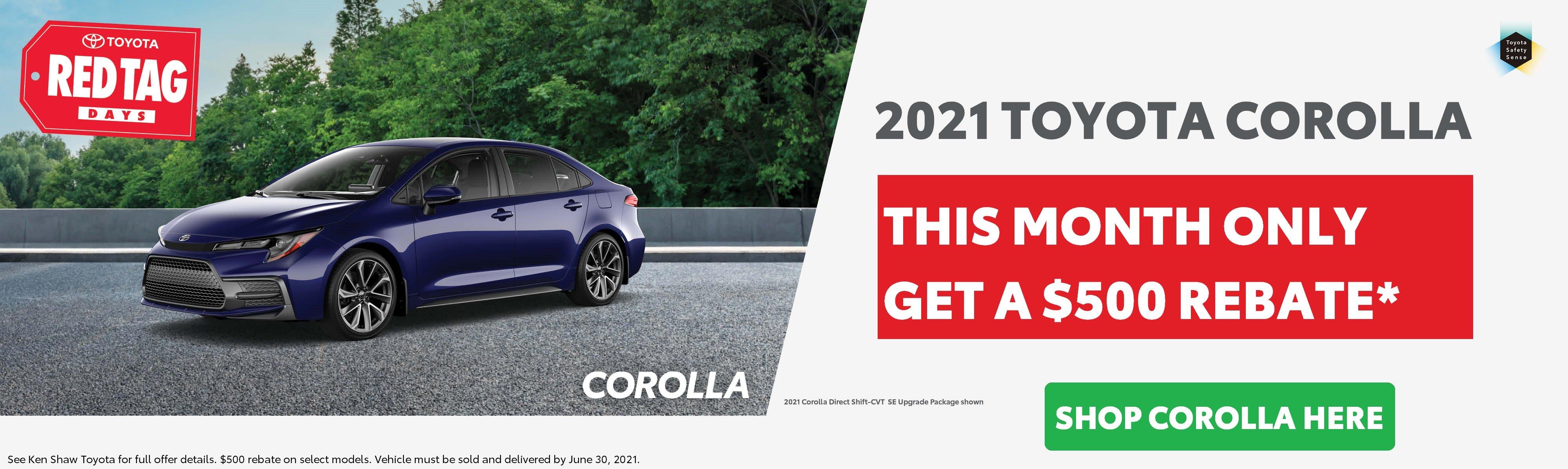2021 Toyota Corolla on sale in Toronto at Ken Shaw Toyota $500 rebate promotion
